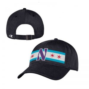 Northwestern University Wildcats Legacy Unconstructed Adjustable Black Hat with Chicago Flag & Stylized N Design
