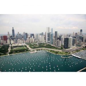 Chicago Postcard: Chicago Skyline and Montrose Harbor CPC0008
