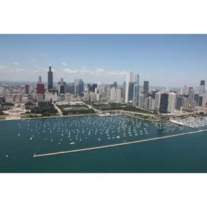 Chicago Postcard: Chicago Skyline from Montrose Harbor CPC0066