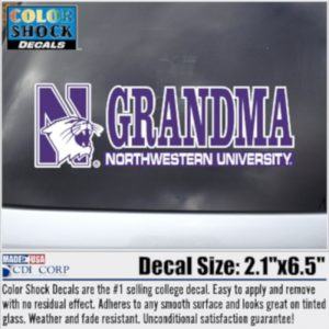 Northwestern University Grandma Design Outside Application Decal