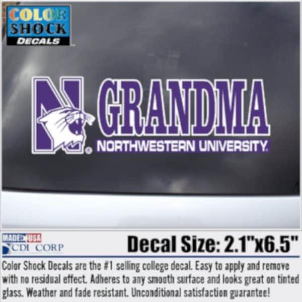 Northwestern University Grandma Design Outside Application Decal
