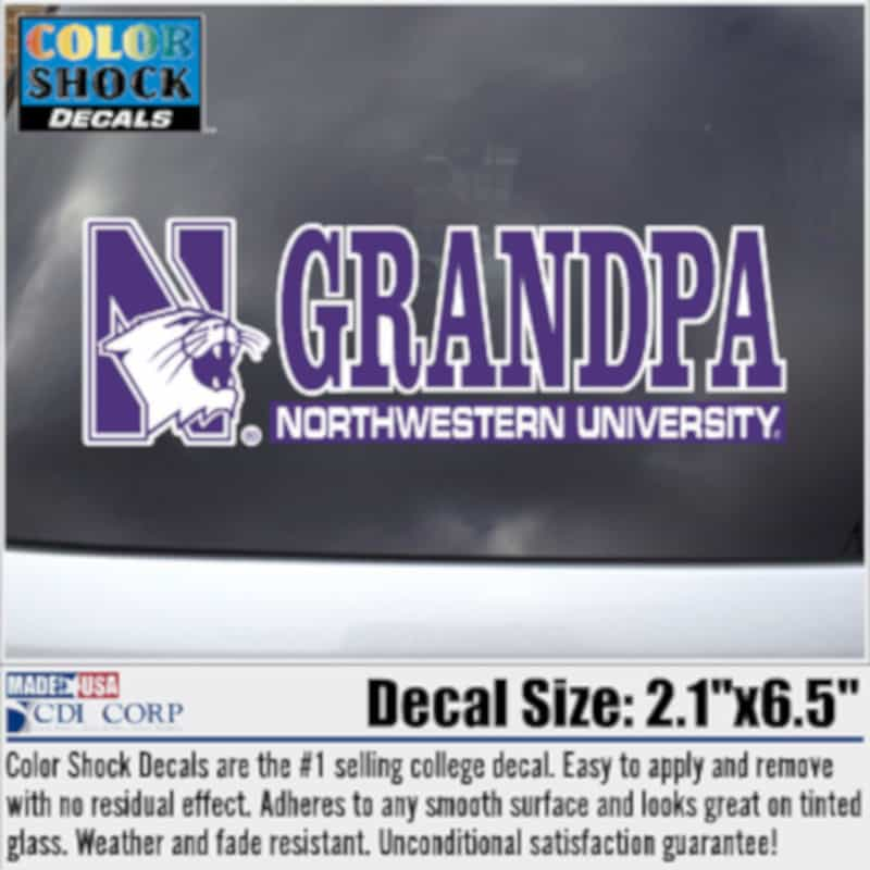 Northwestern University Grandpa Design Outside Application Decal