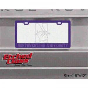 Northwestern University N-cat Etched Glass Purple License Plate Frame