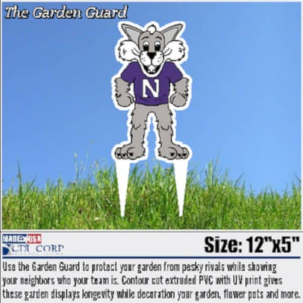 Northwestern University Laser Cut Willie the Wildcat Garden Guard Yard Sign