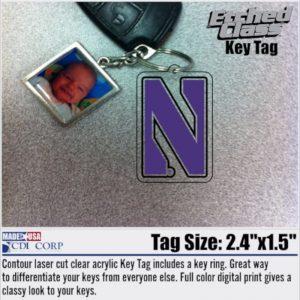 Northwestern University Laser Cut Acrylic N Design Key Chain