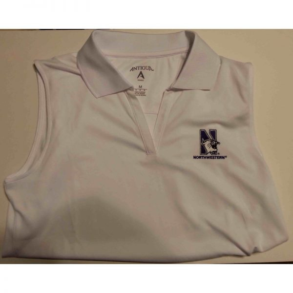 Northwestern Widcats Antigua Women's White Sleeveless Polo Shirt Women's Sleeveless Exceed 100223