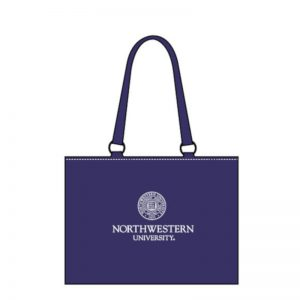 Northwestern Widcats  Zippered Tote Bag with Embroidered Seal Design