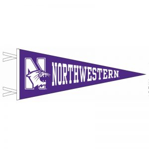 Northwestern Wildcats Wool Felt Pennant with the Mascot Design (9X24)