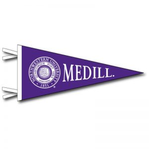 Northwestern Wildcats Wool Felt Pennant with the Medill Design (4X9)