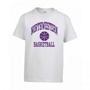 Northwestern Wildcats Men's White Short Sleeve Tee Shirt with Basketball Design