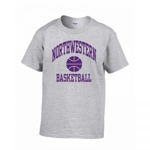 Northwestern Wildcats Men's Grey Short Sleeve Tee Shirt with Basketball Design