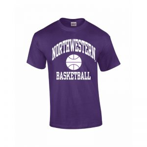 Northwestern Wildcats Youth Purple Short Sleeve Tee Shirt with Basketball Design