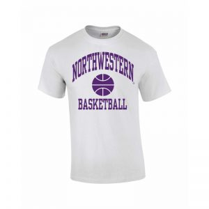 Northwestern Wildcats Youth White Short Sleeve Tee Shirt with Basketball Design