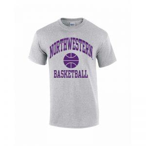 Northwestern Wildcats Youth Grey Short Sleeve Tee Shirt with Basketball Design