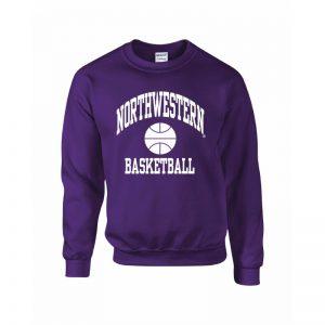 Northwestern Wildcats Youth Purple Crewneck Sweatshirt with Basketball Design