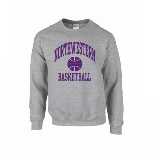 Northwestern Wildcats Youth Grey Crewneck Sweatshirt with Basketball Design