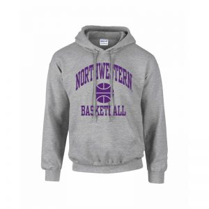 Northwestern Wildcats Youth Grey Hooded Sweatshirt with Basketball Design