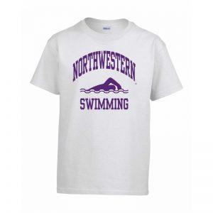 Northwestern Wildcats Men's White Short Sleeve Tee Shirt with Swimming Design