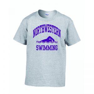 Northwestern Wildcats Men's Grey Short Sleeve Tee Shirt with Swimming Design