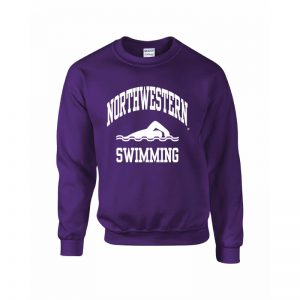 Northwestern Wildcats Men's Purple Crewneck Sweatshirt with Swimming Design