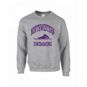 Northwestern Wildcats Men's Grey Crewneck Sweatshirt with Swimming Design