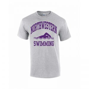 Northwestern Wildcats Youth Grey Short Sleeve Tee Shirt with Swimming Design