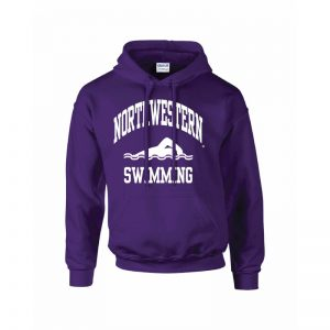Northwestern Wildcats Youth Purple Hooded Sweatshirt with Swimming Design