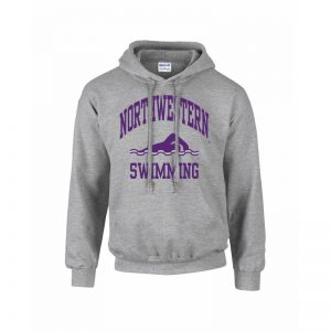 Northwestern Wildcats Youth Grey Hooded Sweatshirt with Swimming Design