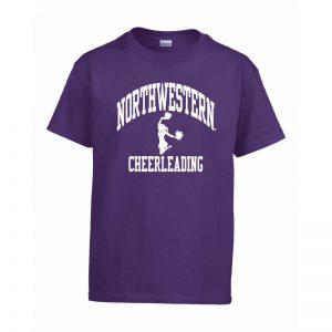 Northwestern Wildcats Men's Purple Short Sleeve Tee Shirt with Cheerleading Design