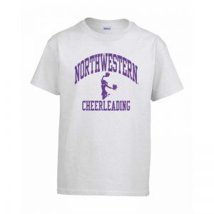 Northwestern Wildcats Men's White Short Sleeve Tee Shirt with Cheerleading Design