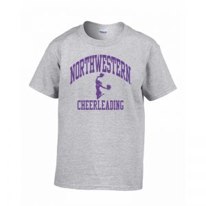 Northwestern Wildcats Men's Grey Short Sleeve Tee Shirt with Cheerleading Design