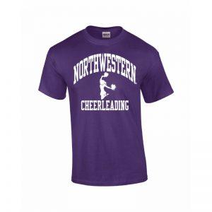 Northwestern Wildcats Youth Purple Short Sleeve Tee Shirt with Cheerleading Design