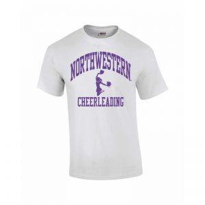 Northwestern Wildcats Youth White Short Sleeve Tee Shirt with Cheerleading Design