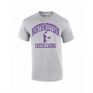 Northwestern Wildcats Youth Grey Short Sleeve Tee Shirt with Cheerleading Design