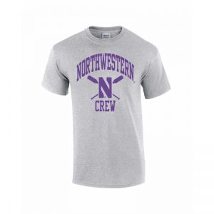 Northwestern Wildcats Men's Grey Short Sleeve Tee Shirt with Crew Design