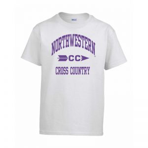 Northwestern Wildcats Men's White Short Sleeve Tee Shirt with Cross Country Design