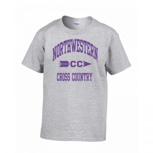 Northwestern Wildcats Men's Grey Short Sleeve Tee Shirt with Cross Country Design