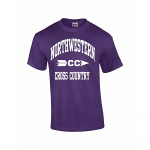 Northwestern Wildcats Youth Purple Short Sleeve Tee Shirt with Cross Country Design