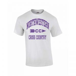 Northwestern Wildcats Youth White Short Sleeve Tee Shirt with Cross Country Design
