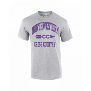 Northwestern Wildcats Youth Grey Short Sleeve Tee Shirt with Cross Country Design