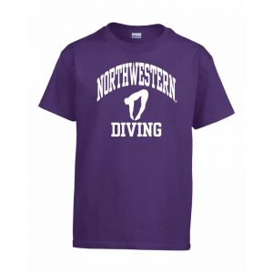 Northwestern Wildcats Men's Purple Short Sleeve Tee Shirt with Diving Design