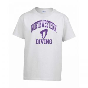 Northwestern Wildcats Men's White Short Sleeve Tee Shirt with Diving Design