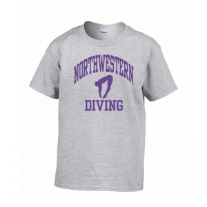Northwestern Wildcats Men's Grey Short Sleeve Tee Shirt with Diving Design