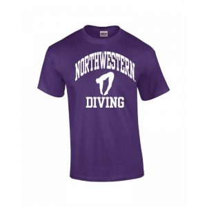 Northwestern Wildcats Youth Purple Short Sleeve Tee Shirt with Diving Design