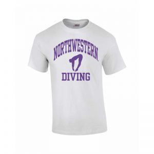 Northwestern Wildcats Youth White Short Sleeve Tee Shirt with Diving Design