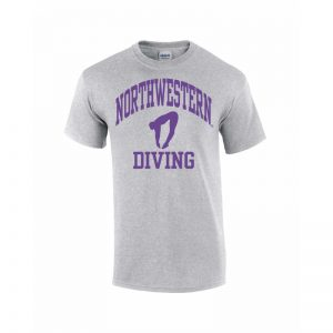 Northwestern Wildcats Youth Grey Short Sleeve Tee Shirt with Diving Design