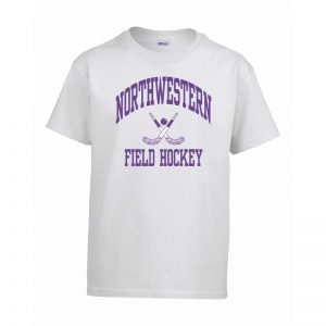 Northwestern Wildcats Men's White Short Sleeve Tee Shirt with Field Hockey Design