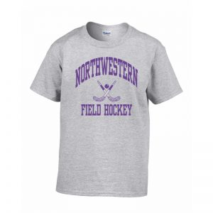 Northwestern Wildcats Men's Grey Short Sleeve Tee Shirt with Field Hockey Design