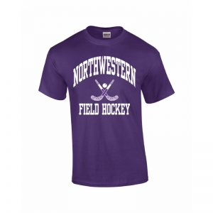 Northwestern Wildcats Youth Purple Short Sleeve Tee Shirt with Field Hockey Design