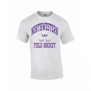 Northwestern Wildcats Youth White Short Sleeve Tee Shirt with Field Hockey Design